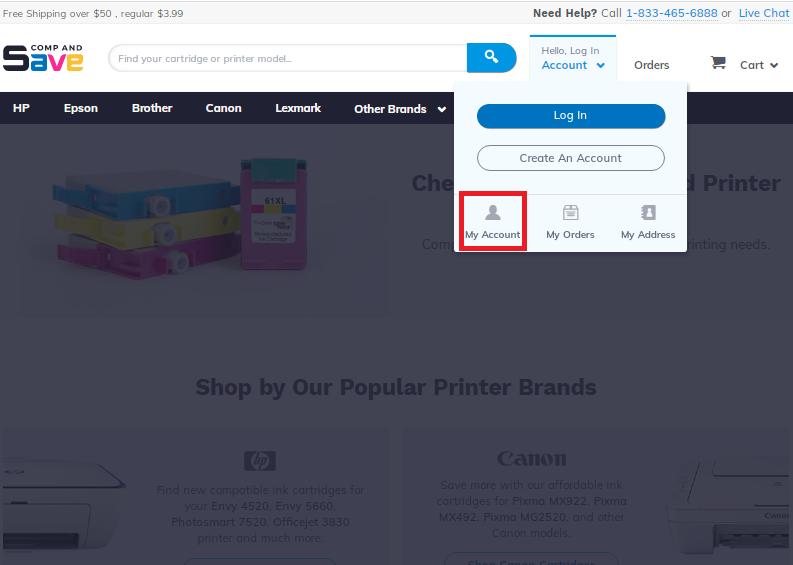 Screenshot of My account menu on Compandsave website