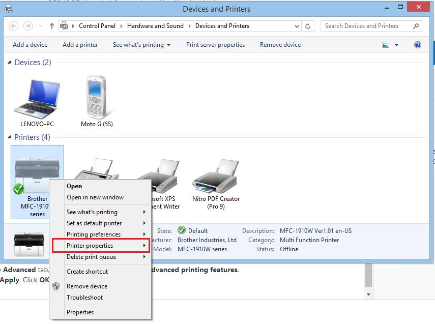 Image of Printer Properties option menu