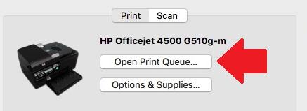 Image of Printer and Scanners menu