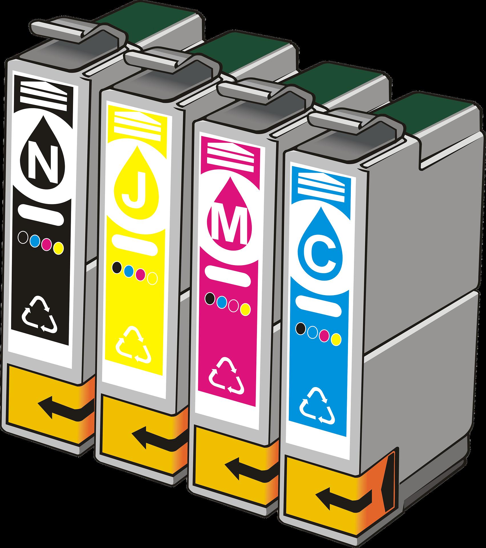 Illustration of CMYK ink cartridges