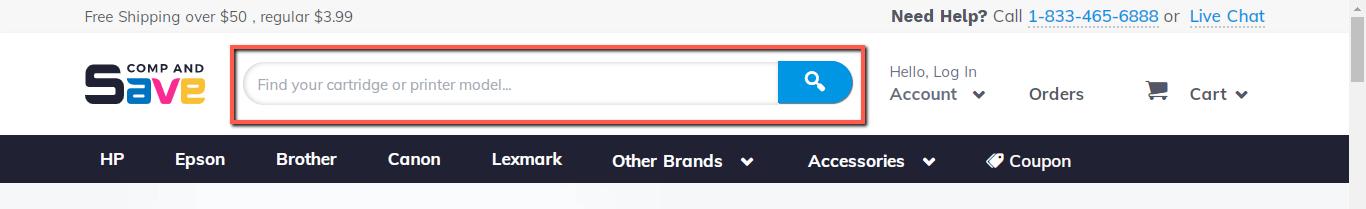 Screenshot of header search box on Compandsave website
