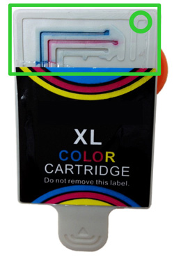 Ink cartridge with protective tape removed